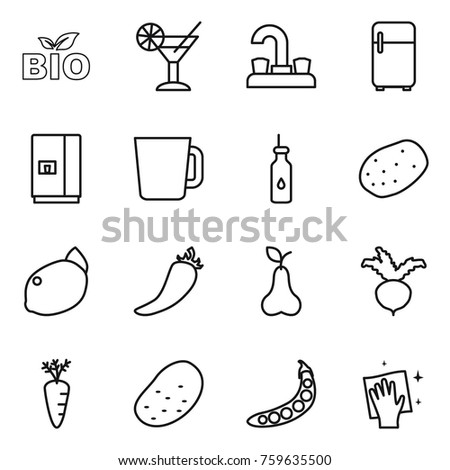Thin line icon set : bio, cocktail, water tap, fridge, cup, vegetable oil, potato, lemon, hot pepper, pear, beet, carrot, peas, wiping