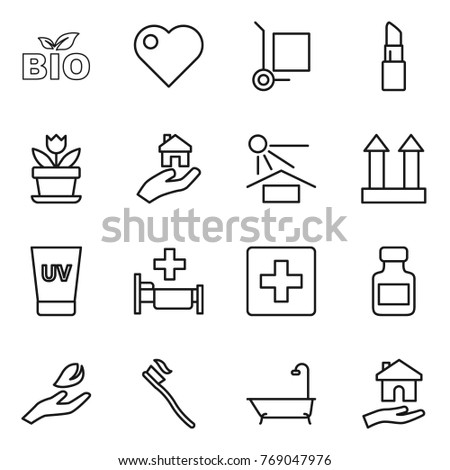 Thin Line Icon Set Bio Heart Stock Vector 769047976 Shutterstock