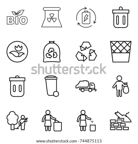 thin line icon set : bio, nuclear power, battery charge, bin, ecology, garbage bag, recycling, trash, truck, garden cleaning, construct