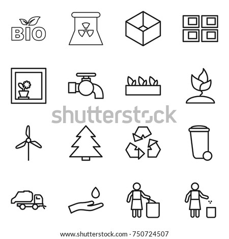 thin line icon set : bio, nuclear power, box, panel house, flower in window, water tap, seedling, sprouting, windmill, spruce, recycling, trash bin, truck, hand and drop, garbage
