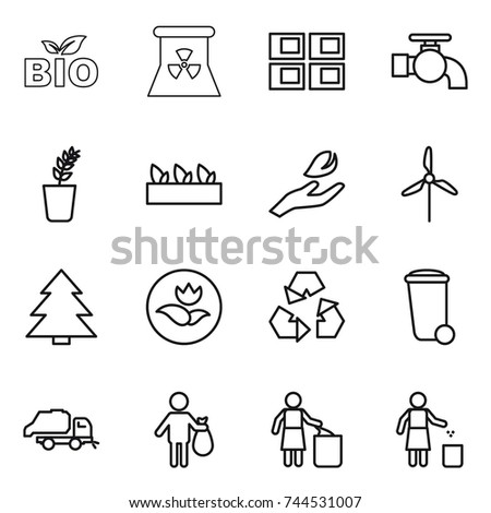 thin line icon set : bio, nuclear power, panel house, water tap, seedling, hand leaf, windmill, spruce, ecology, recycling, trash bin, truck, garbage
