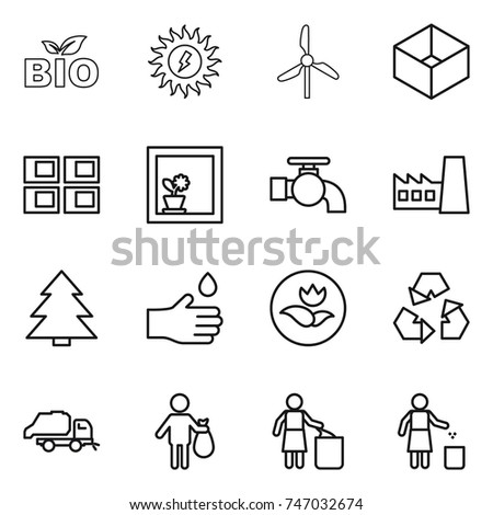 thin line icon set : bio, sun power, windmill, box, panel house, flower in window, water tap, factory, spruce, hand drop, ecology, recycling, trash truck, garbage bin
