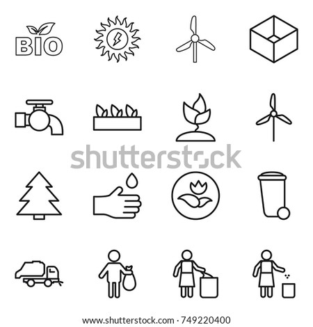 thin line icon set : bio, sun power, windmill, box, water tap, seedling, sprouting, spruce, hand drop, ecology, trash bin, truck, garbage