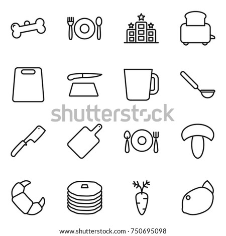 thin line icon set : bone, cafe, hotel, toaster, cutting board, cup, ladle, chef knife, fork spoon plate, mushroom, croissant, pancakes, carrot, lemon