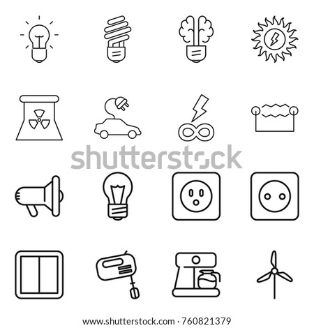 Thin line icon set bulb brain stock vector hd royalty free thin line icon set bulb brain sun power nuclear electric car ccuart
