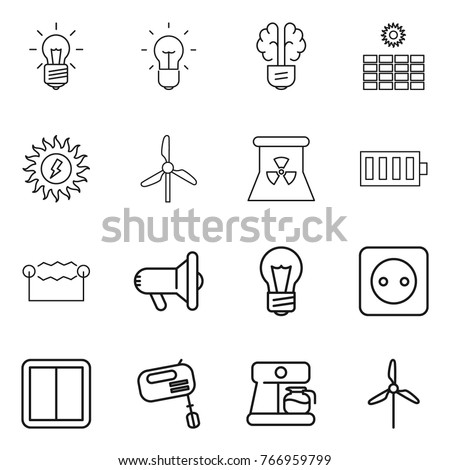 Thin line icon set bulb brain stock vector 766959799 shutterstock thin line icon set bulb brain sun power windmill nuclear ccuart Gallery