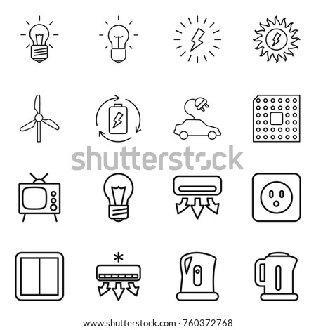Stock Vector Thin Line Icon Set Bulb Lightning Sun Power Windmill Battery Charge Electric Car Cpu Tv