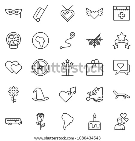 thin line icon set candle cake stock vector 1080434543 shutterstock