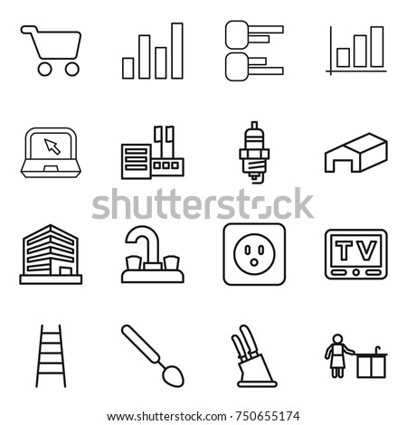 stock vector thin line icon set cart graph diagram notebook store spark plug warehouse office water 750655174 plug spoon stock images, royalty free images & vectors shutterstock  at creativeand.co