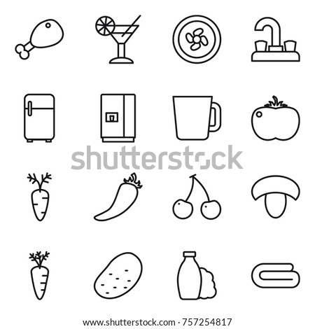 Thin line icon set : chicken leg, cocktail, cooler fan, water tap, fridge, cup, tomato, carrot, hot pepper, cherry, mushroom, potato, shampoo, towel
