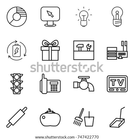 Thin line icon set circle diagram stock vector 747422770 thin line icon set circle diagram monitor arrow bulb battery charge ccuart Image collections