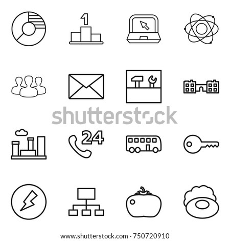 Thin line icon set circle diagram stock vector 750720910 thin line icon set circle diagram pedestal notebook atom group ccuart Image collections