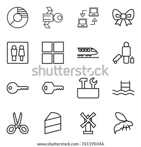 Thin line icon set circle diagram stock vector 761190346 thin line icon set circle diagram satellite notebook connect bow wc ccuart Image collections