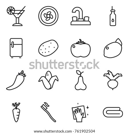 Thin line icon set : cocktail, cooler fan, water tap, vegetable oil, fridge, potato, tomato, lemon, hot pepper, corn, pear, beet, carrot, tooth brush, wiping, towel
