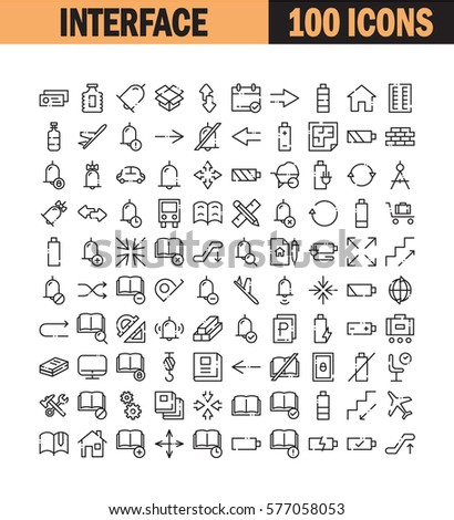 Thin line icon set. Collection of high quality flat icon for web design or mobile app. Interface, bell, arrow, construction vector illustration. Airport, transport, book, battery icon set.