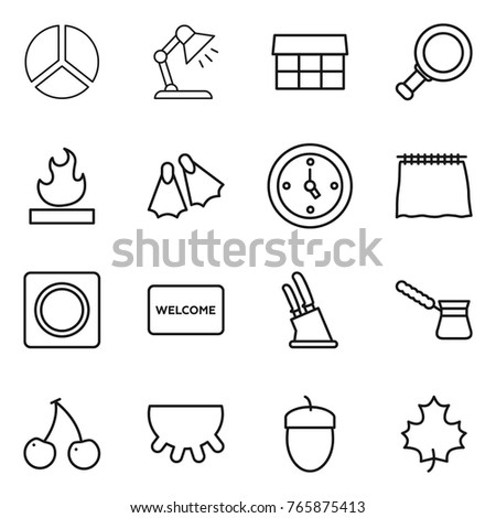 Thin line icon set diagram table stock vector 765875413 shutterstock thin line icon set diagram table lamp market magnifier flammable ccuart Choice Image