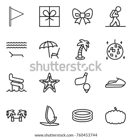 thin line icon set   flag gift bow tourist lounger palm thin line icon set flag gift stock vector 772696024   shutterstock  rh   shutterstock
