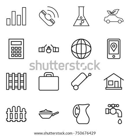 Thin line icon set graph call stock vector 750676429 shutterstock thin line icon set graph call flask eco car calculator ccuart Gallery