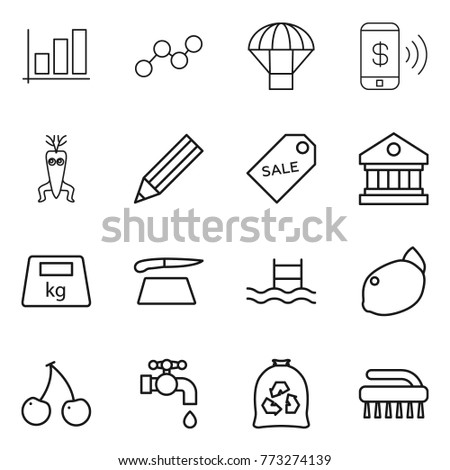 Thin line icon set graph parachute stock vector 773274139 shutterstock thin line icon set graph parachute phone pay dna modify pencil ccuart Images