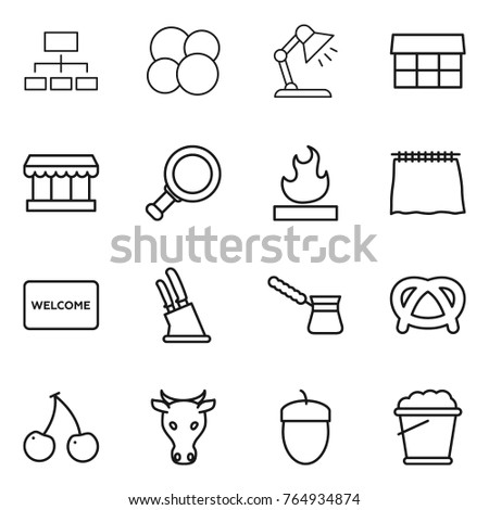 Table mat stock vectors images vector art shutterstock thin line icon set hierarchy atom core table lamp market magnifier ccuart Choice Image
