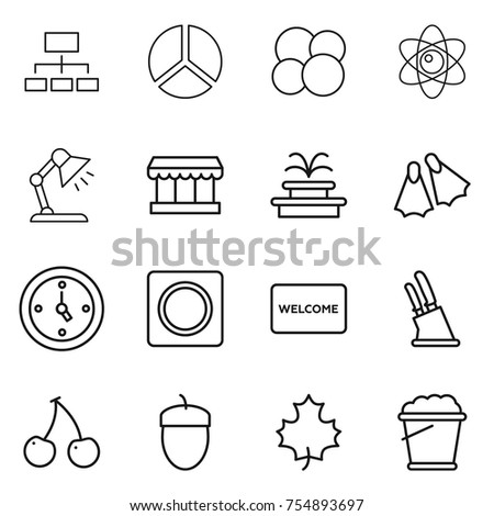 Vector table mat stock images royalty free images vectors thin line icon set hierarchy diagram atom core table lamp market ccuart Choice Image