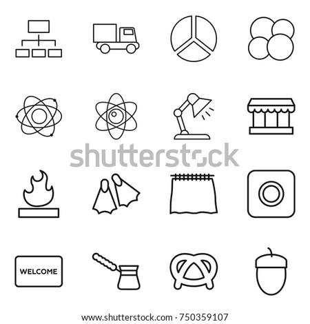 Vector table mat stock images royalty free images vectors thin line icon set hierarchy truck diagram atom core table lamp ccuart Choice Image