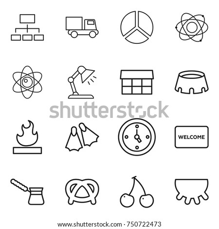 Vector table mat stock images royalty free images vectors thin line icon set hierarchy truck diagram atom table lamp ccuart Choice Image