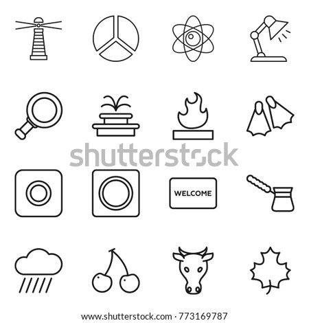 Vector table mat stock images royalty free images vectors thin line icon set lighthouse diagram atom table lamp magnifier ccuart Choice Image