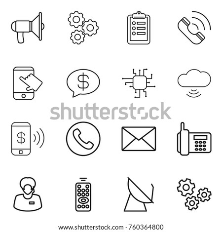 Thin line icon set : loudspeaker, gear, clipboard, call, touch, money message, chip, cloud wireless, phone pay, mail, support manager, remote control, satellite antenna, gears
