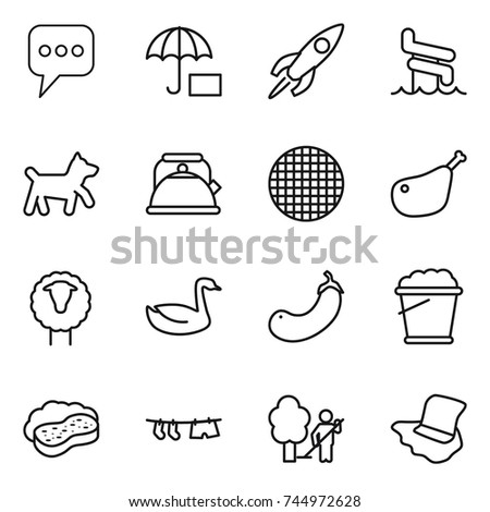 natural resources related icons silhouettes stock vector