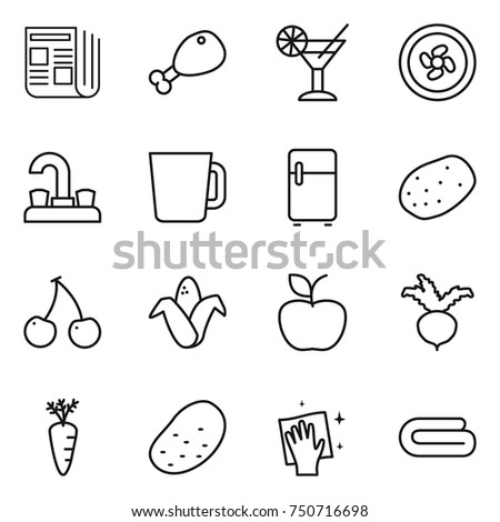 thin line icon set : newspaper, chicken leg, cocktail, cooler fan, water tap, cup, fridge, potato, cherry, corn, apple, beet, carrot, wiping, towel