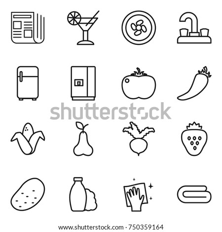 thin line icon set : newspaper, cocktail, cooler fan, water tap, fridge, tomato, hot pepper, corn, pear, beet, strawberry, potato, shampoo, wiping, towel