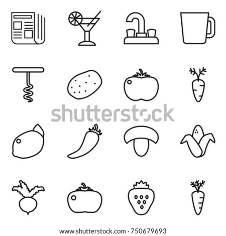 thin line icon set : newspaper, cocktail, water tap, cup, corkscrew, potato, tomato, carrot, lemon, hot pepper, mushroom, corn, beet, strawberry