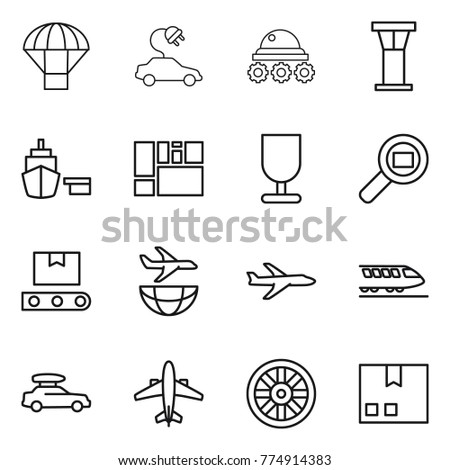 Thin line icon set : parachute, electric car, lunar rover, airport tower, port, consolidated cargo, fragile, search, transporter tape, plane shipping, train, baggage, airplane, wheel, package