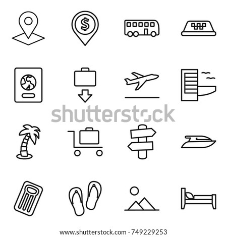 thin line icon set : pointer, dollar pin, bus, taxi, passport, baggage get, departure, hotel, palm, trolley, signpost, yacht, inflatable mattress, flip flops, landscape, bed