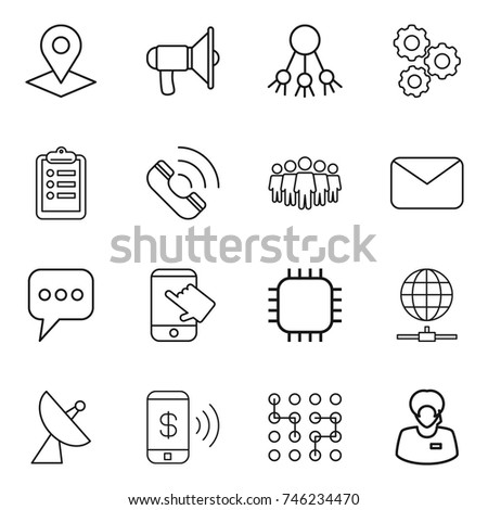 thin line icon set : pointer, loudspeaker, share, gear, clipboard, call, team, mail, message, touch, chip, globe connect, satellite antenna, phone pay, support manager