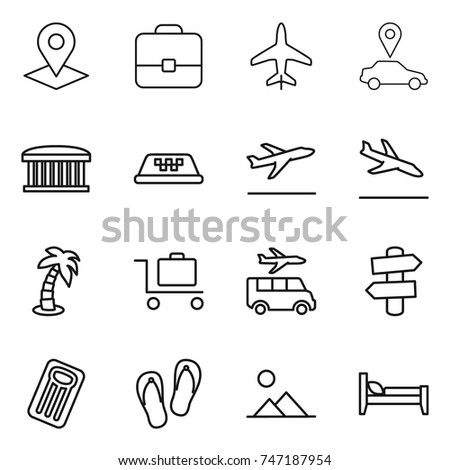 thin line icon set : pointer, portfolio, plane, car, airport building, taxi, departure, arrival, palm, baggage trolley, transfer, signpost, inflatable mattress, flip flops, landscape, bed