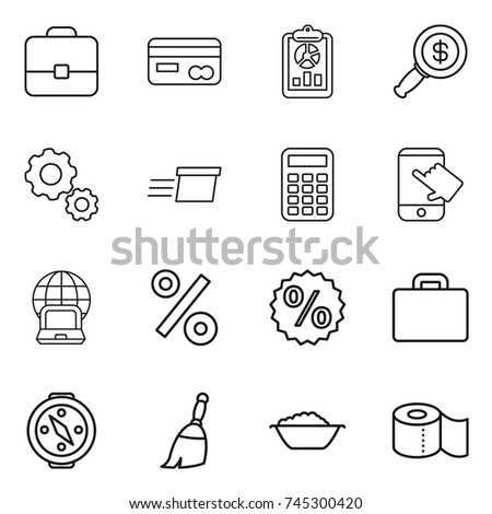 thin line icon set : portfolio, card, report, dollar magnifier, gear, delivery, calculator, touch, notebook globe, percent, suitcase, compass, broom, foam basin, toilet paper