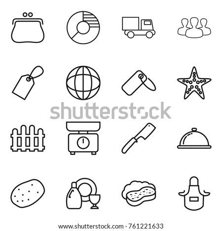 Thin line icon set purse circle stock vector 761221633 shutterstock thin line icon set purse circle diagram truck group label ccuart