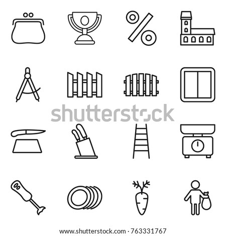 thin line icon set purse trophy percent mansion draw compass