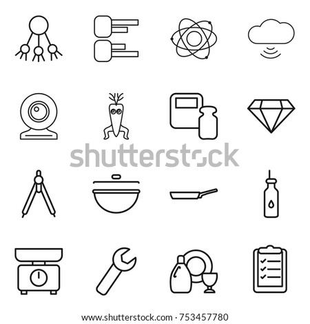 Thin line icon set share diagram stock vector 753457780 shutterstock thin line icon set share diagram atom cloud wireless web cam ccuart Image collections