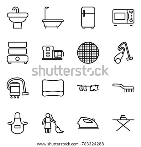Thin Line Icon Set : Sink, Bath, Fridge, Microwave Oven, Double Boiler