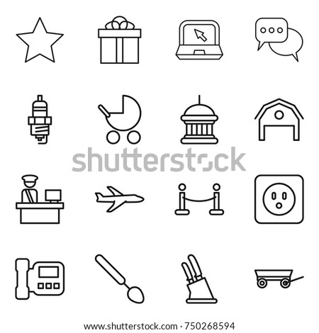 stock vector thin line icon set star gift notebook discussion spark plug baby stroller goverment house 750268594 plug spoon stock images, royalty free images & vectors shutterstock  at creativeand.co