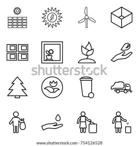 thin line icon set : sun power, windmill, box, panel house, flower in window, sprouting, hand leaf, spruce, ecology, trash bin, truck, and drop, garbage
