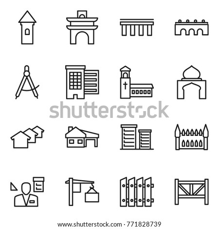 Thin Line Icon Set Tower Arch Bridge Draw Compass Houses