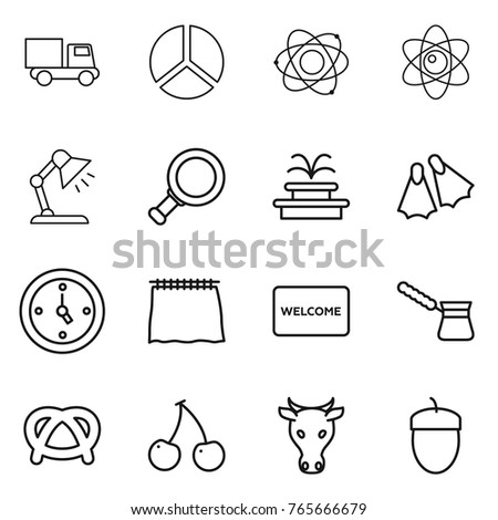 Thin line icon set truck diagram stock vector 765666679 shutterstock thin line icon set truck diagram atom table lamp magnifier ccuart Choice Image