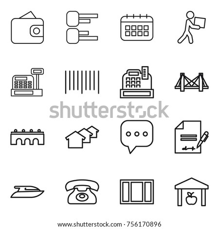 Thin line icon set wallet diagram stock vector 756170896 shutterstock thin line icon set wallet diagram calendar courier cashbox bar ccuart Gallery