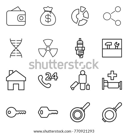 Thin line icon set wallet money stock vector 770921293 shutterstock thin line icon set wallet money bag circle diagram molecule dna ccuart Image collections