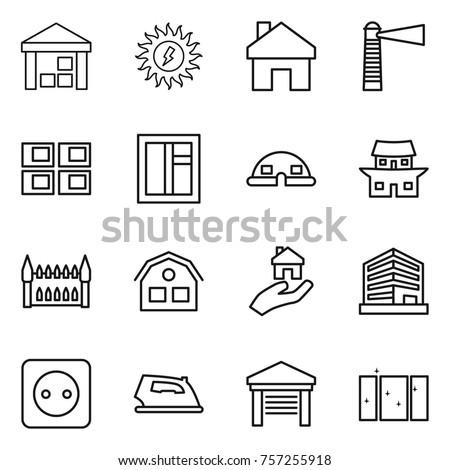 Thin Line Icon Set Warehouse Sun Power Home Lighthouse Panel House