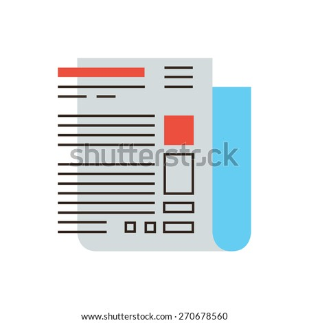 Thin line icon with flat design element of abstract newspaper front page, internet blogging, latest hot news, interesting article. Modern style logo vector illustration concept. - stock vector